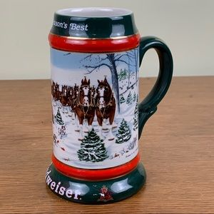 Budweiser Clydesdale Christmas Stein 1991